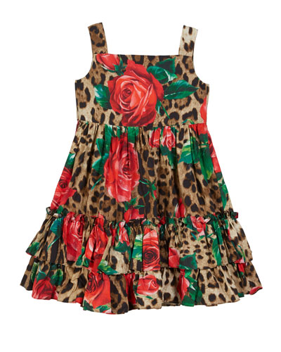 Leopard & Rose-Print Ruffle-Hem Dress  Size 8-12