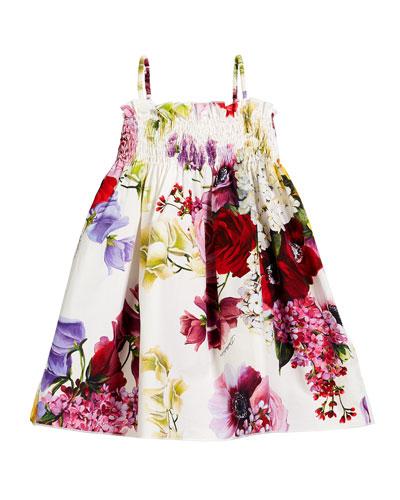Smocked Floral Spaghetti-Strap Dress  Size 8-12