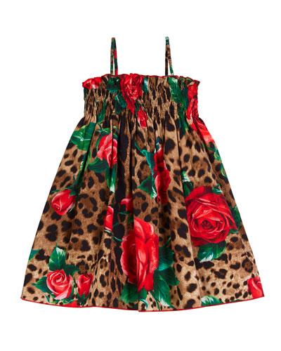 Smocked Leopard & Roses Spaghetti-Strap Dress  Size 2-6