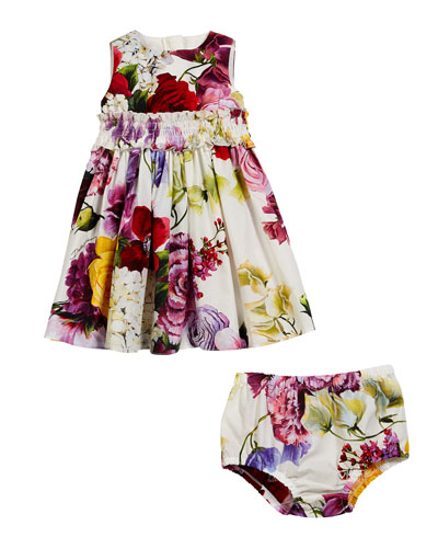 Sleeveless Floral Dress w/ Matching Bloomers  Size 6-30 Months