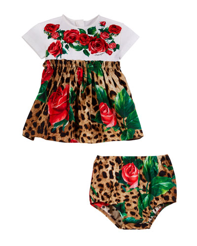 Leopard & Rose Print Mixed Material Dress w/ Bloomers  Size 2-6