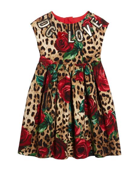 4200c503cd27 Dolce & Gabbana Leopard Rose Print Interlock Dress w/ DG Love Patches, Size  4-6