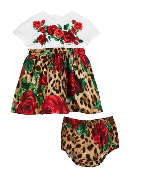 Leopard & Rose Print Mixed Material Dress, Size 12-30 Months