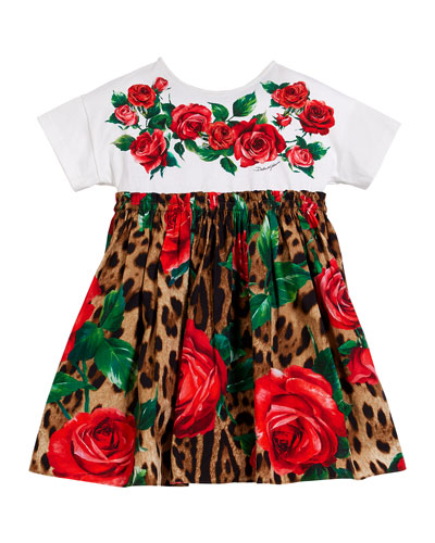 Leopard & Rose Print Mixed Material Dress  Size 8-12