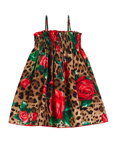 Smocked Leopard & Roses Spaghetti-Strap Dress  Size 8-12