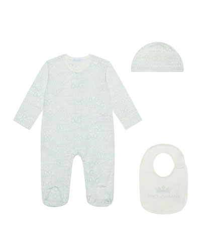 Logo-Print Footie Pajamas w/ Matching Baby Hat & Bib, Size 0-9 Months