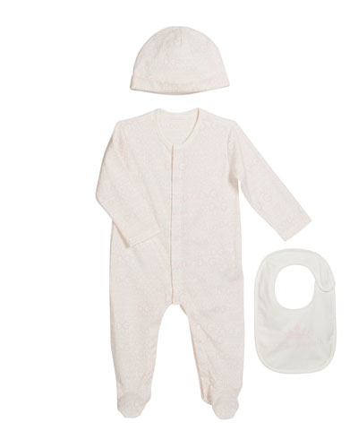 Logo-Print Footie Pajamas w/ Matching Baby Hat & Bib  Size 0-9 Months