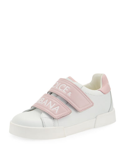Double-Strap Two-Tone Leather Logo Sneakers  Kids