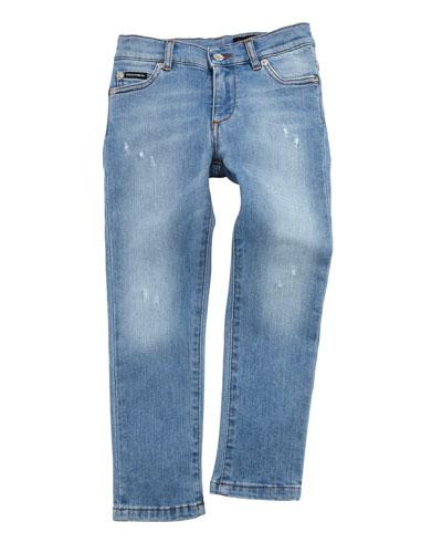Distressed Denim Jeans w/ Logo Band  Size 8-12