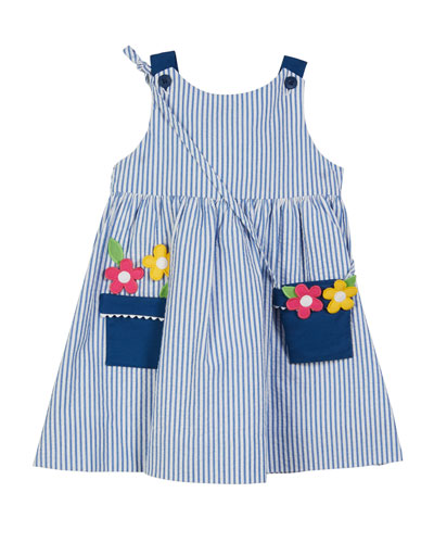 Striped Seersucker Flower Pot Dress w/ Crossbody Bag  Size 2-6X