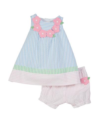 Colorblock Seersucker Striped Dress w/ Bloomers  Size 3-24 Months