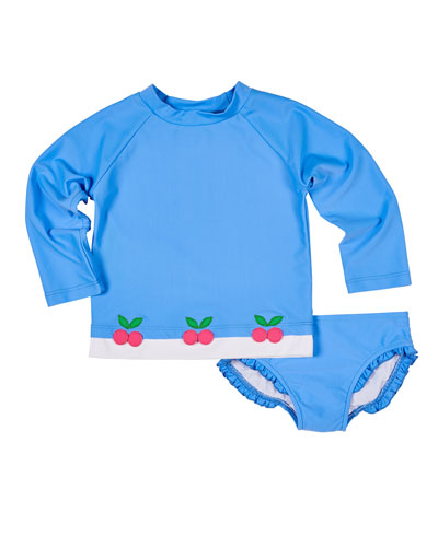 Cherry Applique Rash Guard w/ Ruffle-Trim Bottoms  Size 2-6X