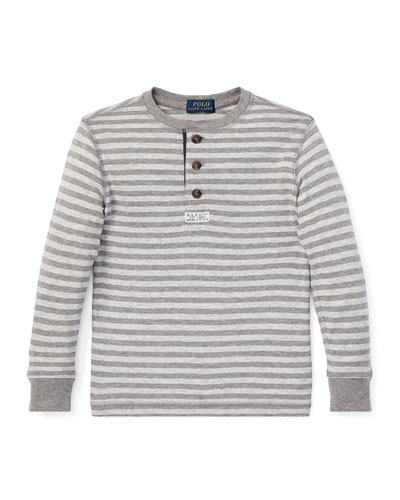 Long-Sleeve Striped Henley Top, Size 2-4