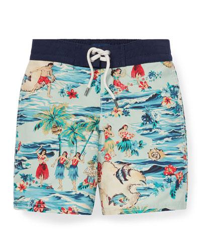 Sanibel Hawaiian Beach Swim Trunks, Size 5-7