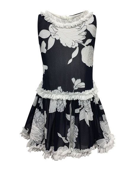 Helena Peony Embroidered Ruffle-Trim Dress, Size 7-14