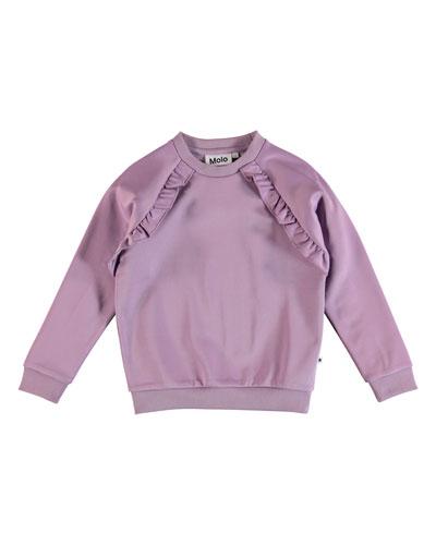 Michaela Ruffle-Trim Sweatshirt, Size 4-12