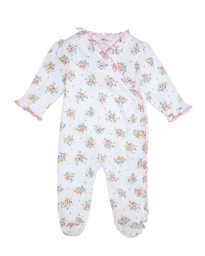 Petite Pansies Ruffle-Trim Pima Footie Playsuit  Size Newborn-9 Months