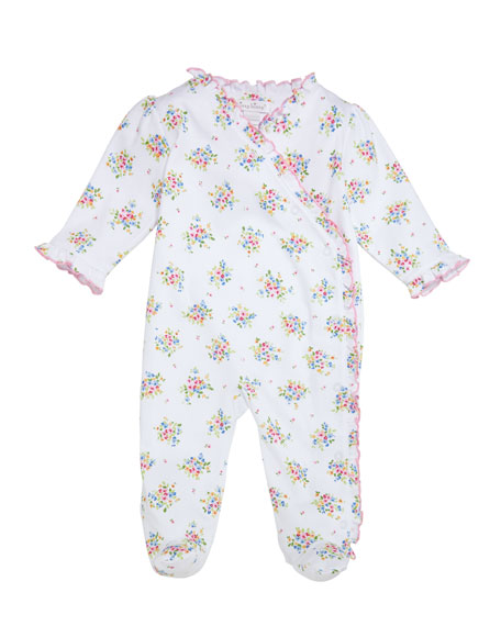 Kissy Kissy Petite Pansies Ruffle-Trim Pima Footie Playsuit,