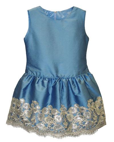 Taffeta Sequin-Hem Sleeveless Dress, Size 4-6