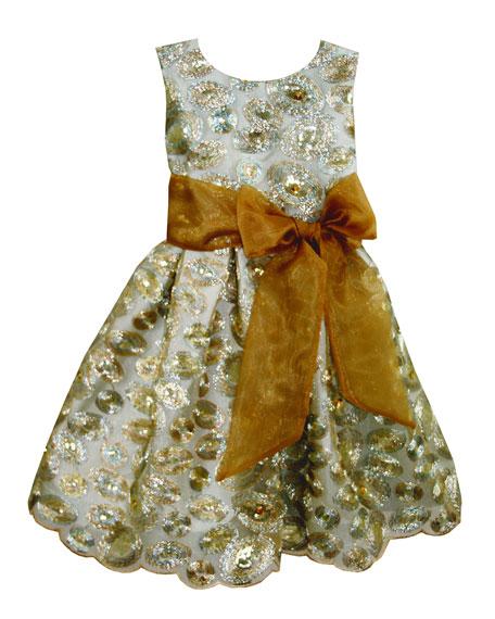 Isabel Garreton Sequin Swirls Party Dress w/ Organza