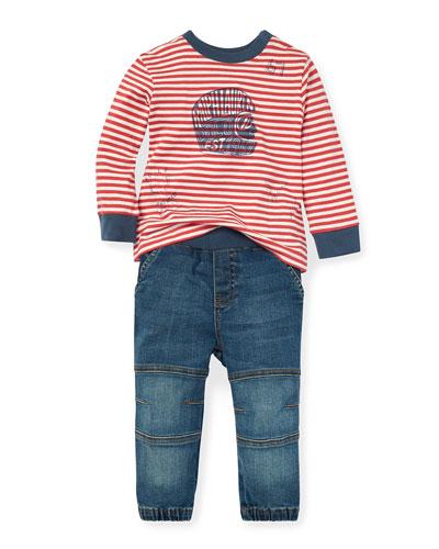 Striped Graphic Top w/ Denim Pants  Size 6-24 Months