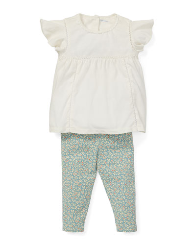 Lace Top w/ Floral Leggings, Size 6-24 Months