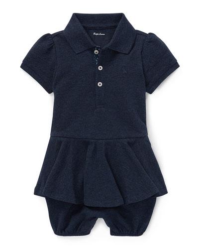Pique Peplum Polo Shortall, Size 3-18 Months