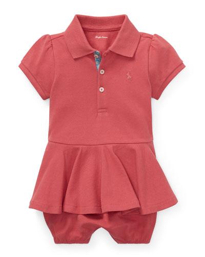 Pique Peplum Polo Shortall  Size 3-18 Months