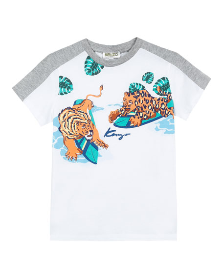 Kenzo Surfing Tiger Friends Graphic Mixed Material T-Shirt,