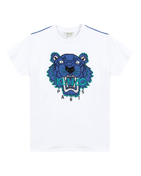 Kenzo Mixed Material Tiger Embroidered T-Shirt, Size 5-6