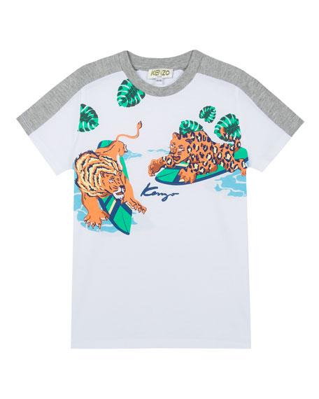 4e9f9a5d9 Kenzo Multi-Food Icon Tiger Striped T-Shirt, Green, Size 8-12