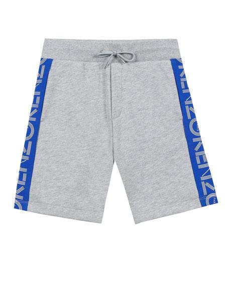 Logo-Sides Mixed Material Fleece Bermuda Shorts, Size 8-12