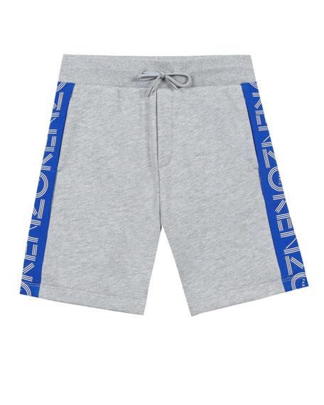 Kenzo Logo-Sides Mixed Material Fleece Bermuda Shorts, Size