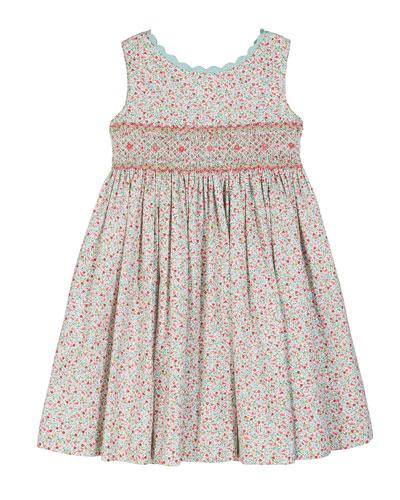 Floral Scalloped-Trim Smocked Dress  Size 4-6X