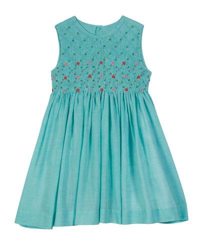 Sleeveless Voile Smocked Dress  Size 2-4T