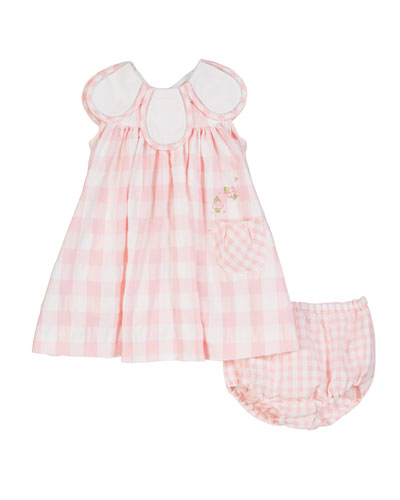 Gingham Petal-Collar Dress w/ Matching Bloomers  Size 3-24 Months