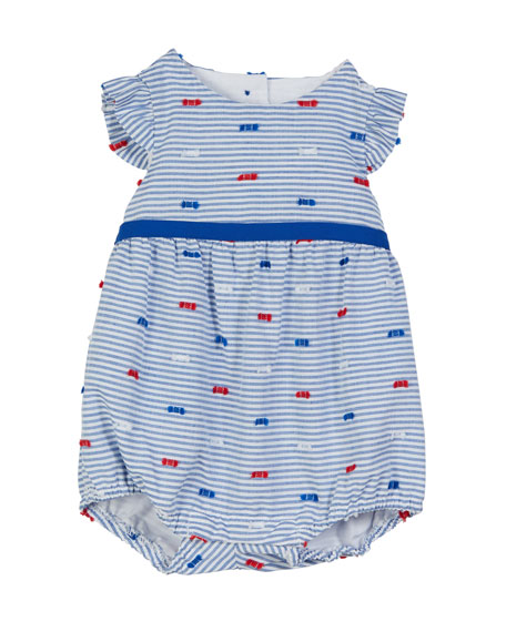 Florence Eiseman Striped Fil Coupe Romper, Size 3-18