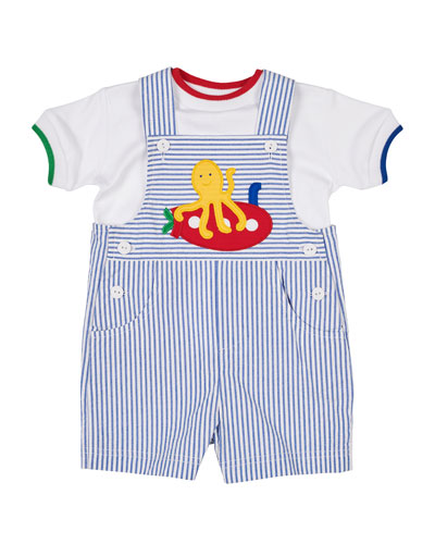 Fish Out Of Water Seersucker Overalls w/ Matching Tee  Size 3-24 Months