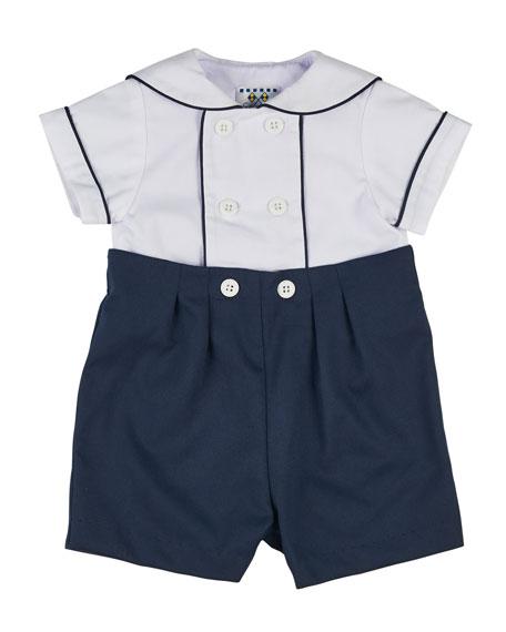 Florence Eiseman Fine-Wale Pique Sailor Shirt w/ Button-On