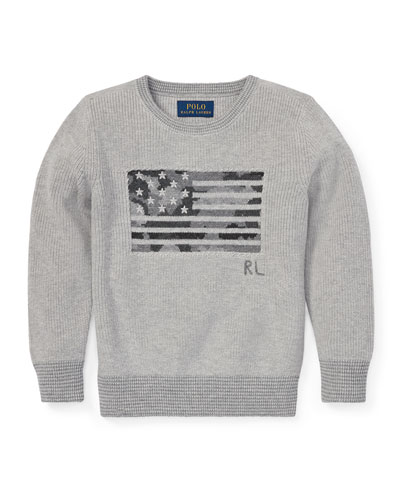 Camo American Flag Knit Sweater  Size 5-7