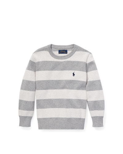 Striped Cotton Sweater, Size 5-7