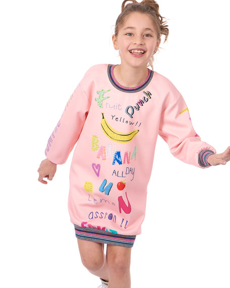 Graphic Banana Scuba Dress, Size 7-14