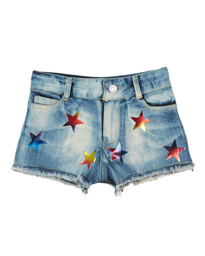 Foil Star Raw-Edge Denim Shorts  Size S-XL