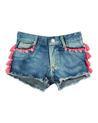 Tassel & Pompom Raw-Edge Denim Shorts  Size S-XL