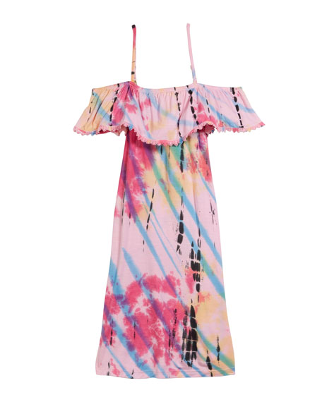 Flowers By Zoe Tie Dye Cold-Shoulder Dress, Size