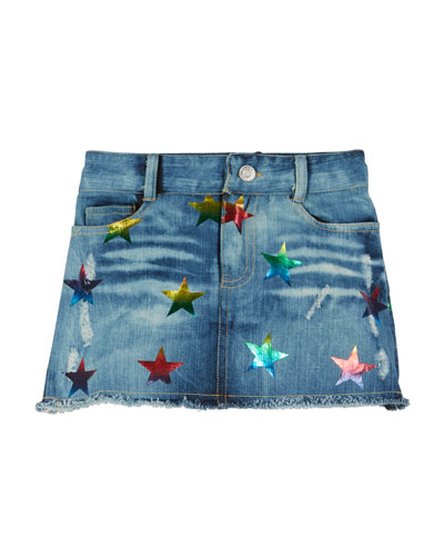 Denim Foil Star Print Mini Skirt  Size S-XL