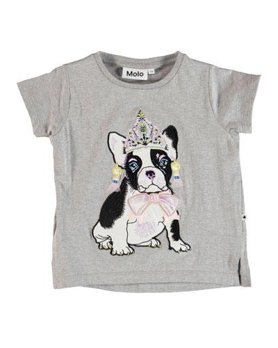 Reenasa Bulldog in Tiara Short-Sleeve Tee  Size 3-12