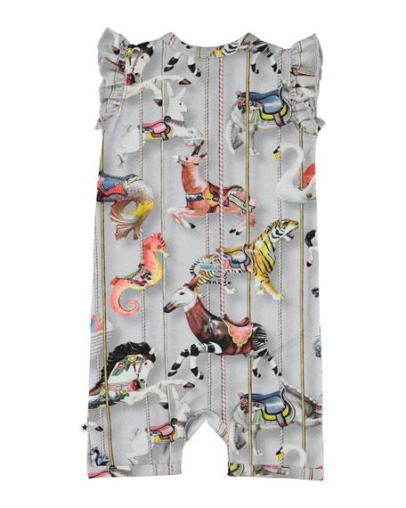 Faris Carousel-Print Ruffle-Sleeve Shortall, Size 3-12 Months