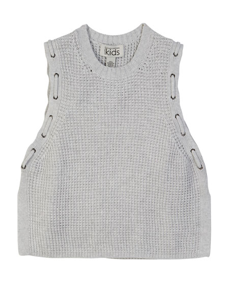 Knit Woven Grommet Sleeveless Top, Size 8-14