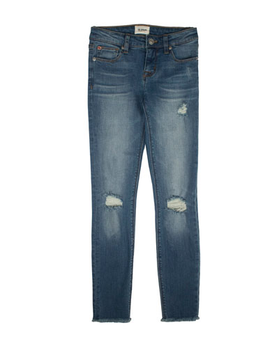 Christa Distressed Release-Hem Skinny Jeans  Size 7-16